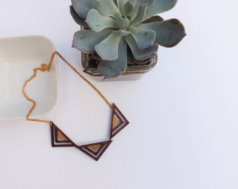 Wooden necklace ~ geometric triangle necklace ~ triple wood triangle necklace ~ laser cut jewellery ~ boho necklace for women ~ gift for mum