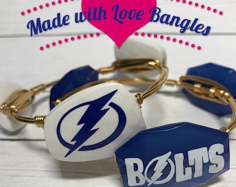 Tampa Bay Hockey Bangle • Tampa Bay Lightening• Bolts • Wire Wrapped Bangle• Three Stone Bangle• Bangle Set Available