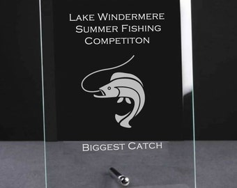 Personalised Jade Glass Plaque Fishing Trophy  - Fishing Competition, Biggest Catch