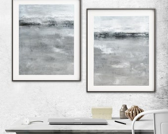 Minimalist Art Set Of Two Art Print Gray Brown Taupe  Modern Art Diptych Painting Concrete Contemporary Interior Design Wall Decor 2 piece