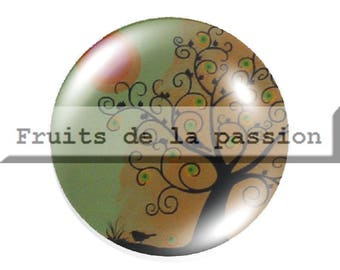 1 cabochon nature, trees, multicolored, round glass 30mm