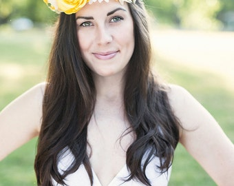 Elaborate Bright Yellow + White Summer Floral Crown