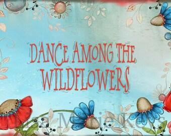 Flower Wall Art Print ~ Flower Decor ~ Coral ~ Wildflowers ~ Home Wall Decor Art Print ~ inspirational ~ Vintage Flowers Decor ~ Painted Art