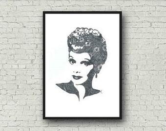Lucille Ball I Love Lucy Zentangle A4 Art Print