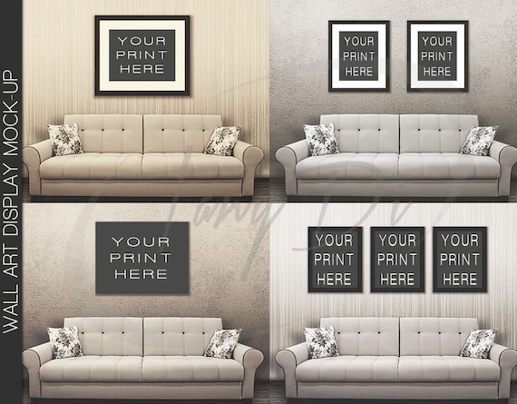 11x14 22x28 33x42 White Sofa Wall Interior 1 Black Frames