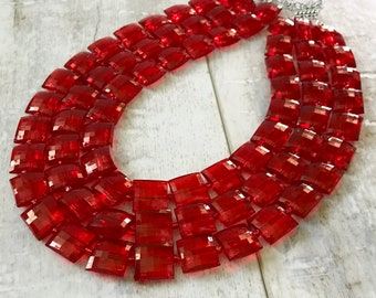 Red Chunky Necklace, Statement Necklace, ACRYLIC Chunky Necklace, Etsy Wedding Jewelry, Bridal Necklace, Bridesmaid Jewelry