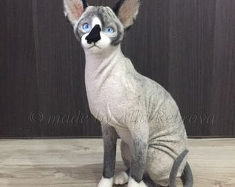 Custom Portrait needle felted wool doll Sphynx cat / For Example / made to order