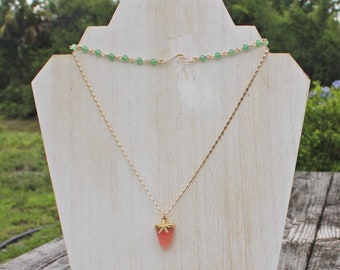 SWEET Gold Ride the Waves Choker with Aventurine Gemstones and Rose Quartz Starfish Necklace Set by Pisces Island