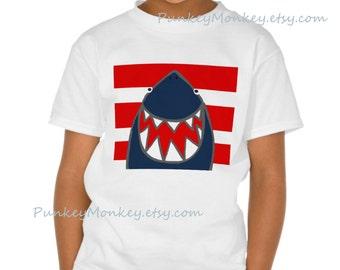 Sharky shark t-shirt enfants ADO chemise choisissent que votre taille xs s m l rouge bleu requins fun mignon requin 100 pour cent coton sans balise garçons filles