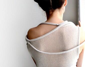Off  Shoulder Sweater,Light beige transparent sweater, minimalist sweater