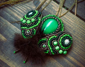 "Brooch "" emerald moth"""
