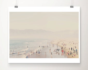 aerial beach photograph california photograph santa monica photograph pacific ocean photograph beach decor california print