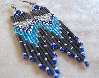 Carpal Tunnel Going Out of Business Sale! Blue, silver, long fringe, seed bead earring, colorful earrings, bold earrings, statement earrings