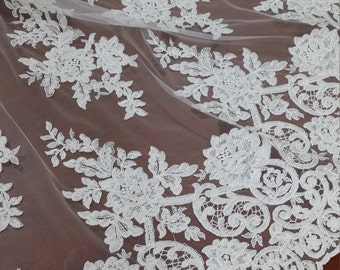 Ivory lace fabric, Embroidered lace, French Lace, Wedding Lace, Bridal lace, White Lace, Veil lace, Lingerie Lace, Alencon Lace EVS016B