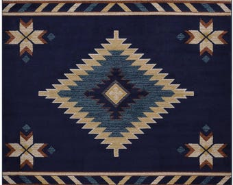 "Southwest Navy Blue Area Rug 5'3""X7'1"" Southwestern South west Area Rugs Country Syle"