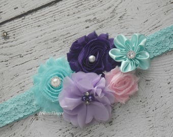 Aqua purple violet pink headband, Shabby Flowers Baby Headband, Newborn Headband, Infant Headband,Baby Headband, Headband Baby