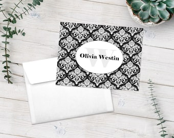 Personalized Damask Note Cards, Black and White Stationery Set, Custom Notecards, Watermark Stationary Set, Thank You Cards, Custom Cards