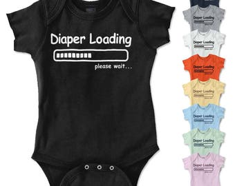 Diaper Loading New Parents Baby Shower Gift Funny Saying Baby Romper Bodysuit
