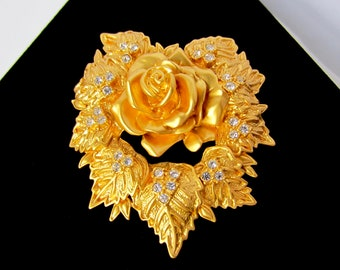 Big Elizabeth Taylor for Avon uncious, dimensional, crystal 3-D Rose & HEART Pin ~HUGE, substantial, collectible vintage costume jewelry
