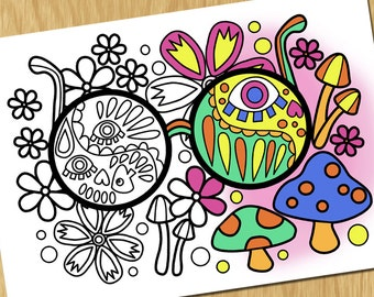 Psychedelic Printable Adult Coloring Page