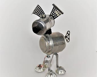 Found object robot Dog - Steampunk sculpture - Upcycled Recycled Art - Dog lover gift - Junk bot