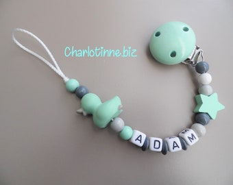 Pacifier clip personalized small lime green duck