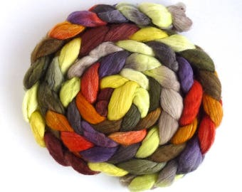 Bright Spark, Merino/ Silk Roving - Handpainted Spinning or Felting Fiber