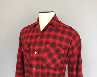 1950s Shadow Plaid Shirt Wool Gabardine Red Plaid Shirt Wool Shirt 50's Shadow Plaid 1950's Plaid Shirt Loop Collar Rockabilly Shirt