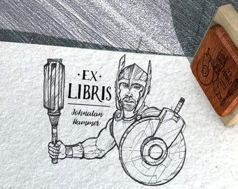 EX LIBRIS Stamp, Name Stamp, Gift Stamp, Logo Stamp, Custom Rubber Stamps 80x40 mm, THOR son of Odin