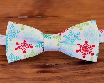 Mens Christmas Snowflake Bow Tie - red green blue snowflakes on white cotton mens bowtie, teen boy bow tie, adult bow tie, holiday bow tie