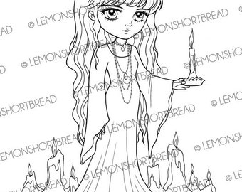 Digital Stamp Candlelight Girl Halloween Goth, Digi Download, Fantasy, Coloring Page, Gothic Candle Night, Clip Art, Scrapbooking Supplies