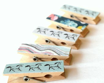 Mini Clothes pins, Unicorn Clothes pins, Small Art Projects, Kids, Organize, Back To School, Unicorns, Mini Clips, Wood pins, Decorative