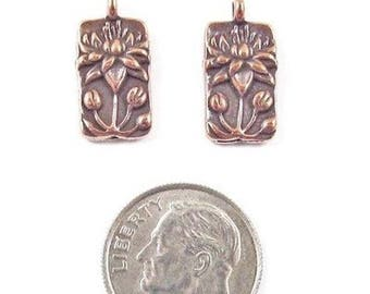 TierraCast Pewter Rectangle Charms-COPPER FLOATING LOTUS (2)