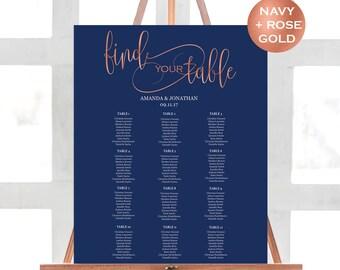 Navy Seating Chart Template - Wedding Seating Chart Printable - Navy and Rose Gold Wedding Seating Chart - Downloadable wedding #WDH31RG32