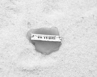 Om shanti silver bar necklace