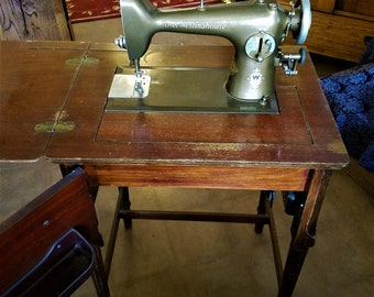 Free-Westinghouse 1940s sewing machine and cabinet w/work table