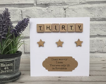 30th Birthday Card, Personalised 30th Birthday Card, 30th Birthday Scrabble Card, 30th Birthday Milestone Card