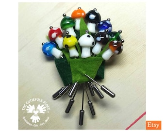 Glass Mushroom Long Pin Stitch Counting Marking | Hat Shawl Hijab Scarf Lapel Pin | Fancy Pincushion Sewing Quilter Lacemaker Knitter Gift