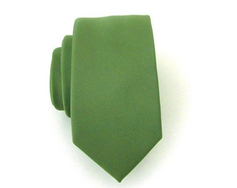 Dark Olive Green Mens Tie Skinny Necktie With *FREE* Matching Pocket Square Set
