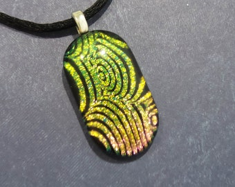 Golden Fused Glass Pendant, Yellow, Pink, and Black, Handmade, Black Swirly Stripes, Ready to Ship, Fused Glass Jewelry - Carla - 6