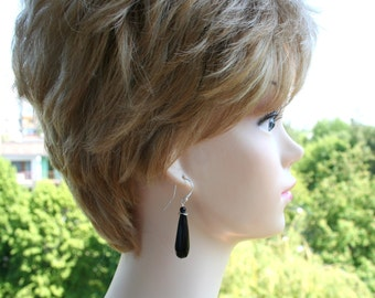 onyx earrings, long black earrings, wedding jewerly, boho dangle earrings, free shipping