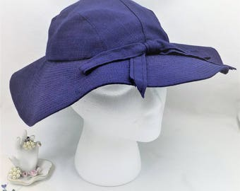 Tapered Wide Brim Hat, Floppy Navy Blue Cotton Linen Hat, Spring and Summer Hat