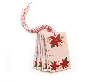 Poinsettia Gift Tags - Pack of 10