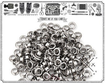 100pcs 4mm Hole Silver Grommets Eyelets for Bead Cores, Clothes, Leather, Canvas