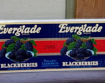 Vintage Everglade Brand Label Blackberries