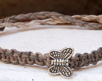 "Butterfly Charm Bracelet, Butterfly Jewelry, Hemp Bracelet, Friendship Bracelet, ""Save the Monarch Butterfly"", Best Friend Gift"