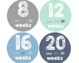 Baby Belly Stickers, Maternity Stickers, Milestone Stickers, Pregnancy Stickers, Pregnancy Reveal, Tribal Arrow, Baby Boy, New Mom Gift