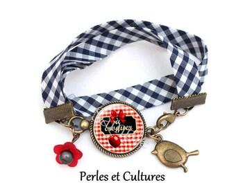 Bracelet cabochon A gingham eat ღ blancღ bow red black Apple love gift idea