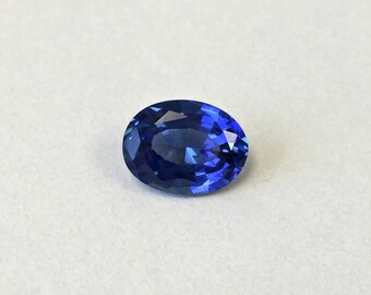 Sapphire Blue medium #M597. Oval 8x6 mm 1 Ct. Created Monosital Gemstone