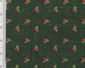 Winter Lodge - Per Yd - Studio E - no metallic hilights Berries on Green